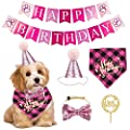 ADOGGYGO Dog Birthday Bandana Girl Boy - Birthday Party Supplies - Tutu Skirt Crown Hat Scarf Happy Birthday Banner Dog Boy Girl Birthday Outfit for Pet Puppy Cat