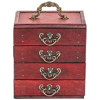 Primo Supply Antique Wooden Box Organizer - 4-Drawer Traditional Decor Wood Box - Makeup Accessories & Skin Care Stash Box - Victoria Style Rustic Home Decor Vintage Deck Storage Box - Wooden Decor