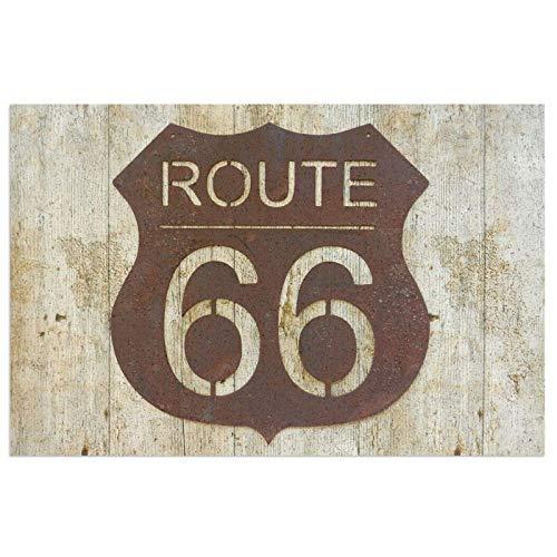 Vintage Route 66 - Felpudo para puerta delantera, interior o exterior, impermeable, antideslizante, atrapa el polvo y la nieve, 23.6 x 15.7 pulgadas