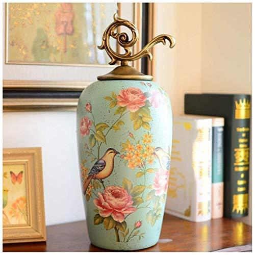 Keramische vaas opslag tank huis decoratie woonkamer TV kast veranda wijnkast met deksel bloem en vogel 42 * 12,7 cm 10-26