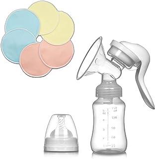 Sacaleches Manual + 6 Discos Lactancia Reutilizables Gratis - Recolector de leche materna - Extractor materno - Discos abs...