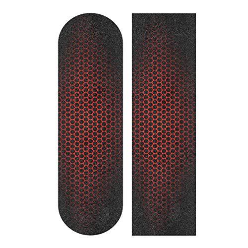 """PAPIA Skateboard Grip Tape Sheet 33"""" x 9"""" Anti Slip Sandpaper Longboard Scooter Griptape Sheet Sticker,Red&Black"""