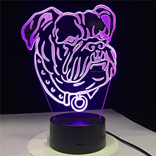 Lampe Illusion Optique Lampe Pour Chien De Compagnie Bull Terrier Led Veilleuse Décorative Enfants Cadeau De Bébé Illusion 3D Lampe De Table Sommeil Éclairage Jouet