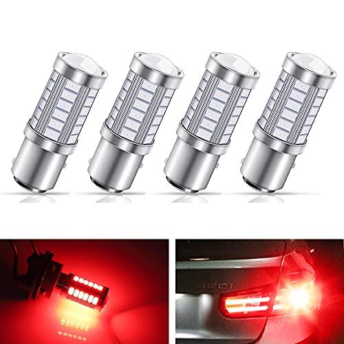 YnGia 4PCS 1157 BAY15D P21 / 5W Lampadine LED per auto, 5630 33-SMD Rosso ultra luminoso 900LM 12V LED Lampadine per indicatori di direzione Freno Freno per retromarcia Coda Stop Lampadina