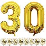 Globos Cumpleaños 30 Años Decoracion Cumpleaños Oro Globo de Confeti 30 Fiesta de Cumpleaños Globos Numeros 30 Gigantes 101cm Helio Globos Decoracion Cumpleaños Decoración