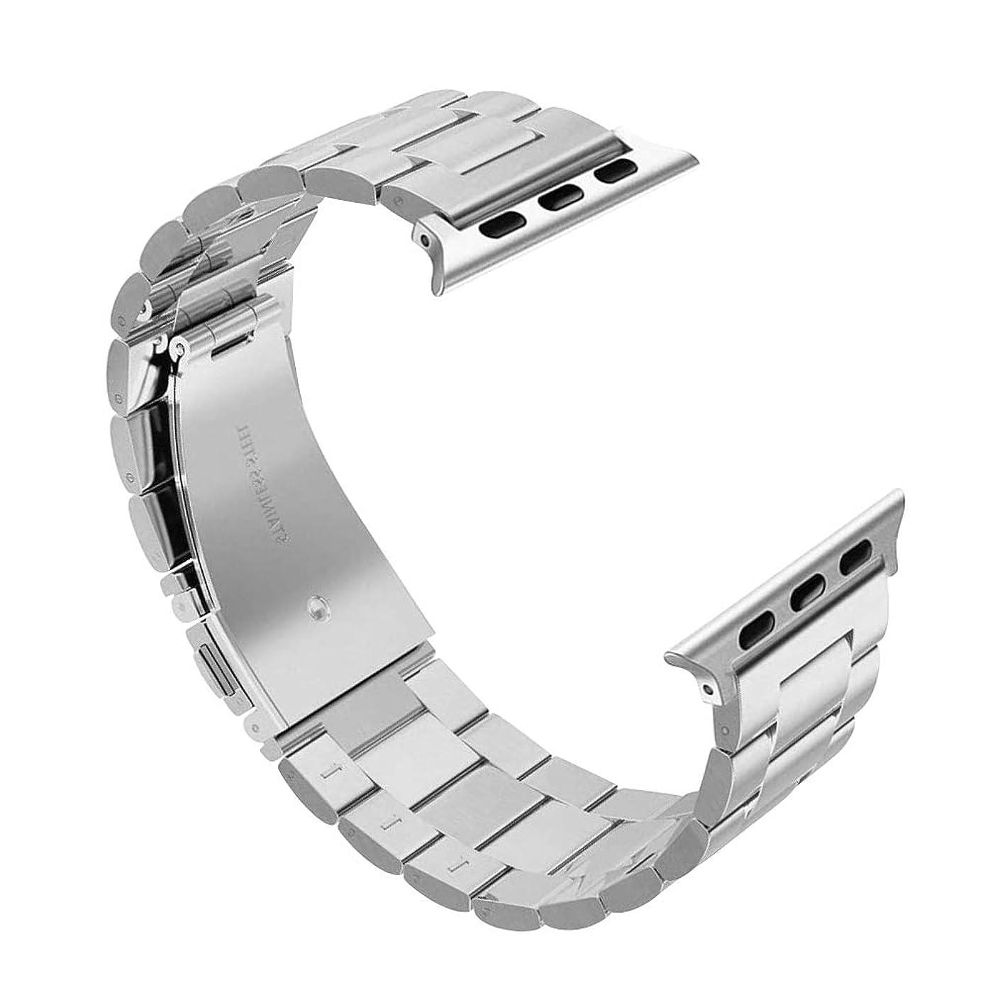 火山学マニフェスト口径RonT ステンレス製 Apple Watch 腕時計 交換ベルト 調節可能 カジュアル ビジネス series 1 2 3 4 5 対応 (38mm/40mm, シルバー)