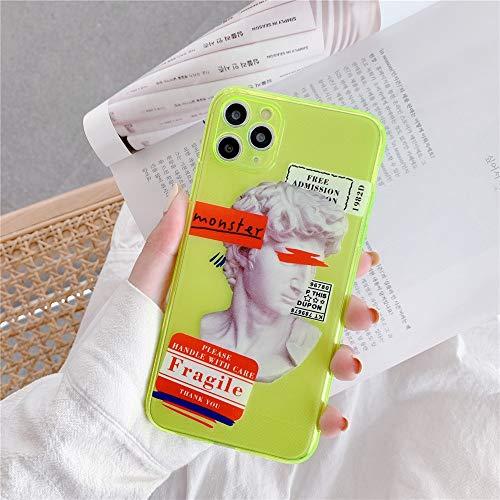 Wyalm Carta de Arte Europeo de Fluorescencia Etiqueta de la Estatua David Funda telefónica para iPhone 12 11 Pro X XR XS MAX 7 8 Plus CUBIERTE DE SILICÓN Linda (Color : 1, Size : Iphone12 Pro)