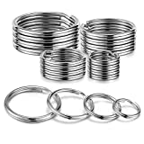 YHYZ Split Key Ring Circle Assorted, Metal Flat Round Keyring Durable in 4 Sizes (Small 1/2 inch, 3/4 inch,1 inch, 1.25 inch), for Dog Pet Collar DIY Tag Jewelry Car Key (Round, 20pcs)