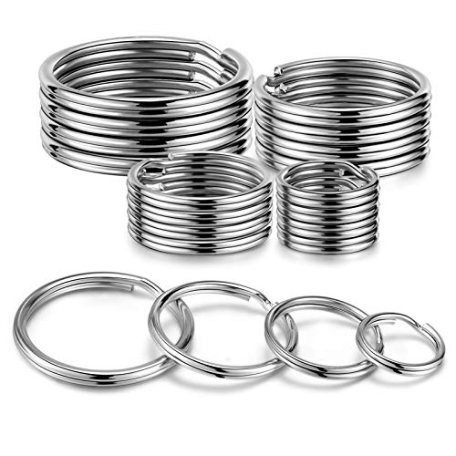 YHYZ Split Key Ring Circle Assorted, Metal Flat Round Keyring Durable in 4 Sizes ( Small 1/2 inch, 3/4 inch,1 inch, 1.25 inch), for Dog Pet Collar DIY Tag Jewelry Car Key (Round, 20pcs)