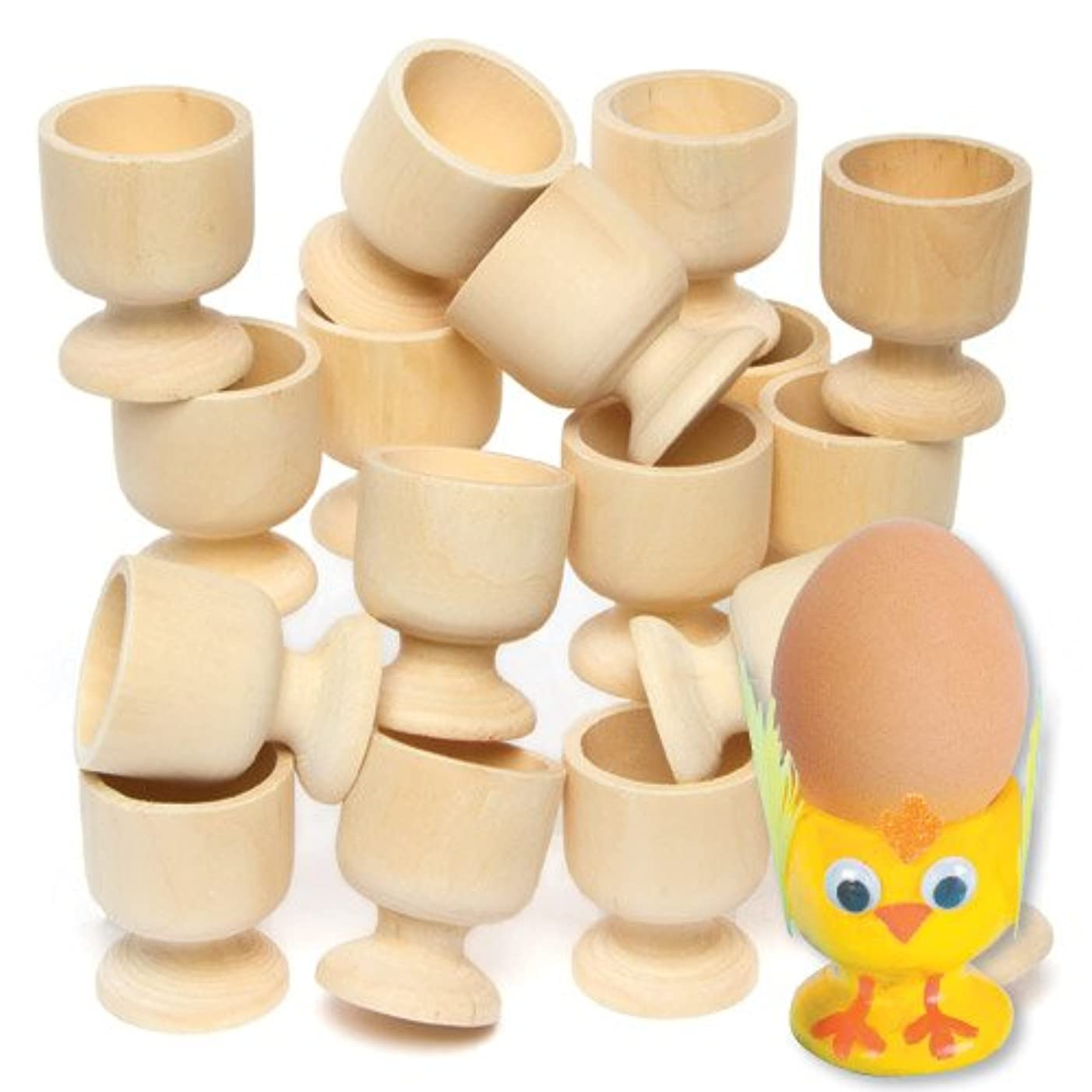Baker Ross Wooden Egg Cups (Pack of 6) for Kids to Paint and Decorate