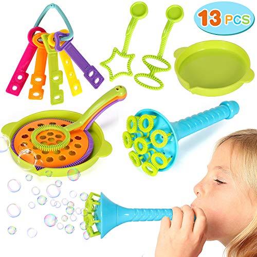 vamei 13 Stück Seifenblasen Set Kinder Bubble Seifenblasen Spielzeug Seifenblasenstäbe Outdoor Bubble Maker Spiele für Hochzeit Taufe Geburtstag