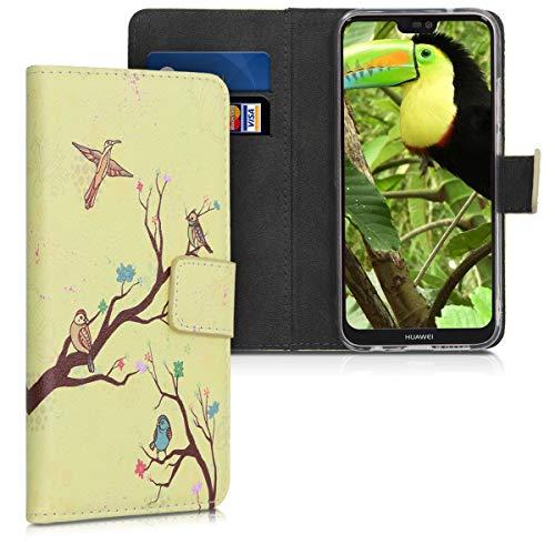 kwmobile Hülle kompatibel mit Huawei P20 Lite - Kunstleder Wallet Case mit Kartenfächern Stand Baum Vogel Blüte Orange Braun Beige