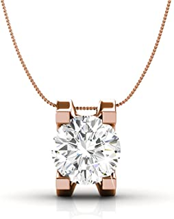 Cate & Chloe Clara Bright Solitaire Pendant Necklace, Women's 18k White Gold Plated Necklace with a Sparkling Solitaire Ro...