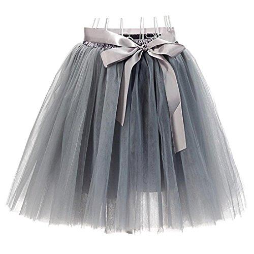 Damen 7 Schichten Knielang Tüllrock Tutu Tüll Kleid Rock Reifrock Abendrock Grau