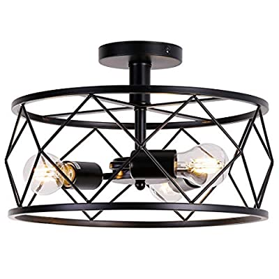 3-Light Industrial Metal Black Cage Ceiling Light E26 Rustic Semi Flush Mount Vintage Lighting Lamp Fixture Farmhouse Oil Rubbed Bronze Finish for Kitchen Foyer Hallway Entryway Bedroom Living Room