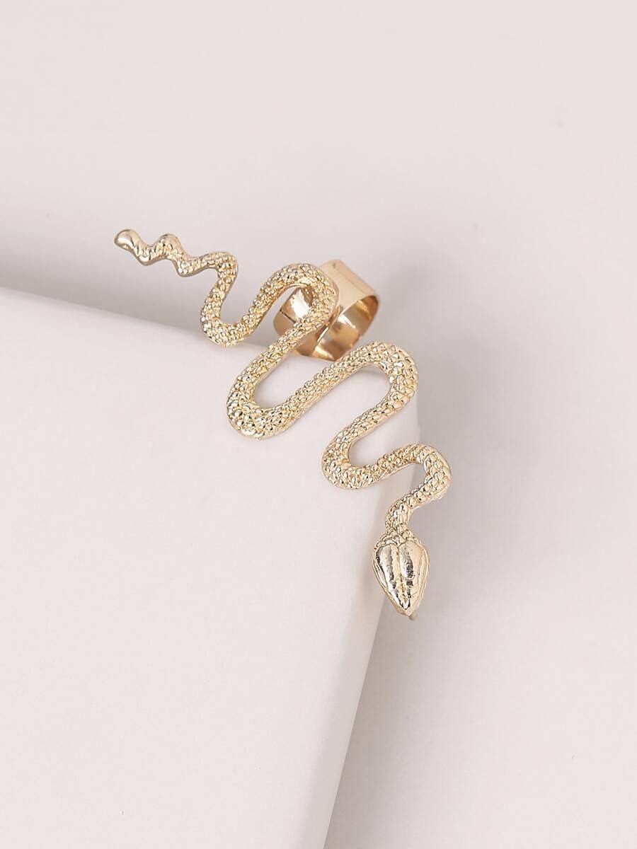 frenma Hoop Earrings Gold Serpentine Ear Cuff (Color : Gold)