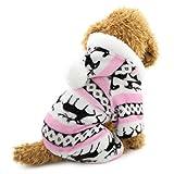 Ranphy Pijama de terciopelo suave con capucha para perro y gato, para niño y niña, con patrón de renos, color rosa L (este estilo es pequeño, elige el tamaño cuidadosamente)