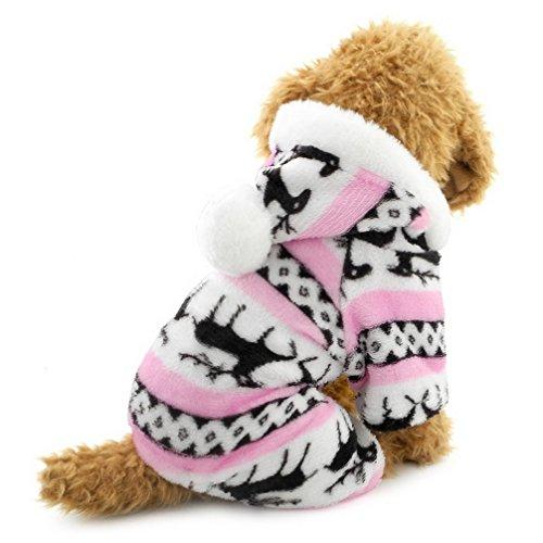 Ranphy-Hunde/Katzen-Kleidung/Kapuzenpulli für kleine Hunde - für Männchen und Weibchen - Weiches Samt - Rentier-Muster - Hunde-Schlafanzug/Jumpsuit für Welpen