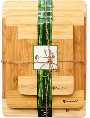 Extra Thick Eco-Friendly Bamboo Cutting Board Set - 3...