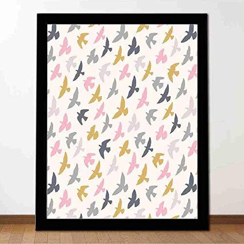 Proceso de impresión mural Minimalista Flying Birds Figuras de animales en colores pastel infantiles en Sky Freedom Decoración estudio dormitorio sala de estar