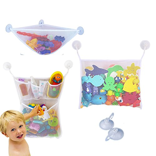 Yizish 3 x Bad Spielzeug Organizer, Baby Bad Toys Aufbewahrungstasche Ecke Net Badewannen Aufbewahrung mit 6 Saugnäpfe für Kinder, Babys