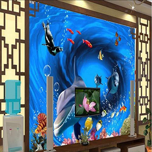 Pbbzl Wallpaper 3D Aangepaste 3D Onderwater Wereld Dolfijn Tropische Vissen Tv Achtergrond muurschildering Kinderen Kamer Slaapzaal Aquarium Behang 150x120cm
