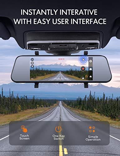 APEMAN 7 Zoll IPS Touchscreen, Spiegel Dashcam mit 1080p (Full HD) wasserdichte Rückfahrkamera, Front- und Rückkamera mit 170° Weitwinkelobjektiv, integrierte Parkhilfe, WDR Loop Aufnahme, G-Sensor