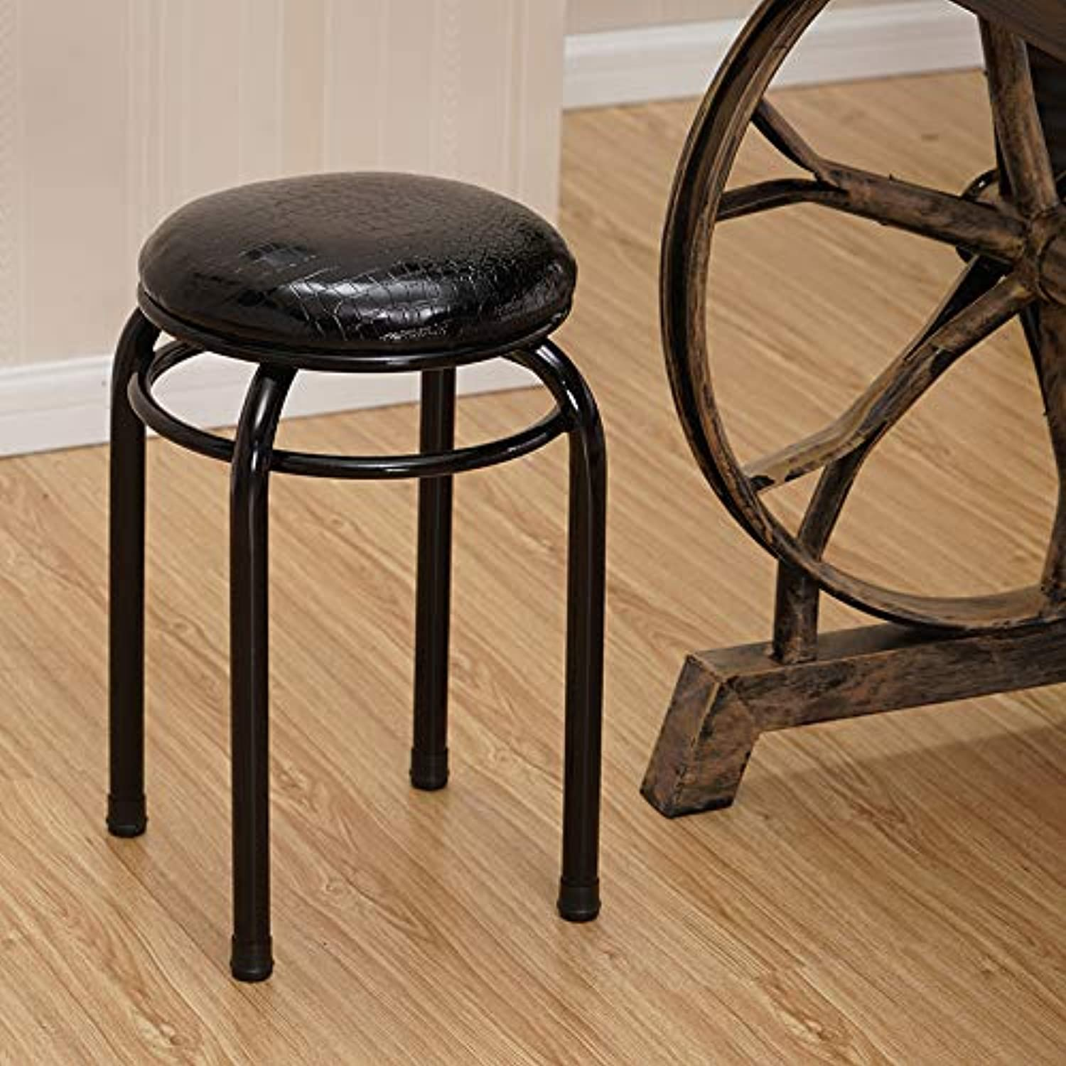 JEZBSY Solid Wood Stool Soft Foreskin Stool Home Stool Metal Dining Stool Stool Retro Nostalgic Plastic Oak JEZBSY (color   Black, Size   B)