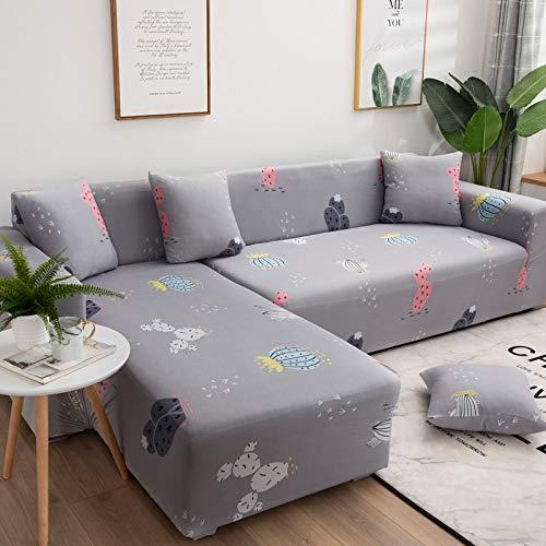 WXQY Funda de sofá elástica geométrica Simple combinación Todo Incluido Funda de sofá Antideslizante Funda de sofá de Esquina en Forma de L A17 3 plazas