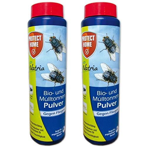 2 x 500 g Protect Home Natria Bio- und Mülltonnen Pulver gegen Fliegenmaden + Gardopia Zeckenzange mit Lupe