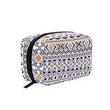 Bolsa de maquillaje pequeña con diseño geométrico gitano tribal étnico geométrico para mujeres y niñas con compartimentos accesorios de viaje