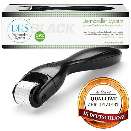 DRS Black Dermaroller mit 192 runden Nadeln, wechselbarer Aufsatz - das Original, Nadeln aus Edelstahl, Gebrauchsanweisung auf Deutsch und Englisch, Nadellänge:0.30mm
