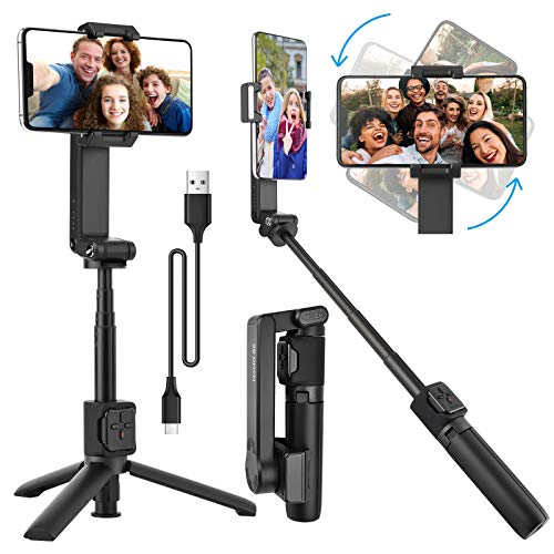 Gimbal Stabilizer for Smartphone, Anti-Shake Foldable Gimbal Tripod Selfie Stick with App Control and Bluetooth Remote for iPhone Samsung Android Phone Video Live Vlog Youtuber TikTok Record