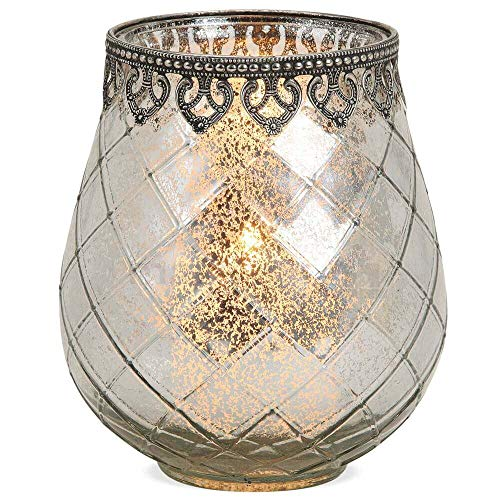 matches21 Windlicht Teelichtglas Kerzenglas Orientalisch Silber antik Glas/Metall Vintage - 3 Größen zur Auswahl – 18 cm