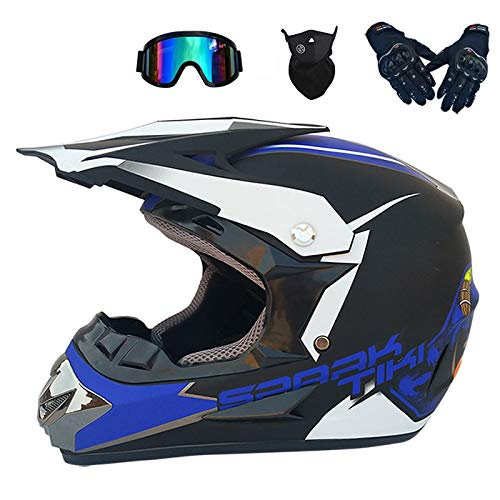 Mountain Bike Small Off-Road Helmet Adult Youth Goggles Face Mask Gloves Comfortable Four Seasons Motocross Helmet Men And Women Full Face Helmet,Blue,M