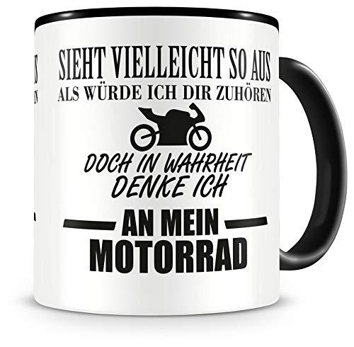 Samunshi® Tasse mit Spruch Ich denke an mein Motorrad Geschenk für Männer Kaffeebecher Kaffeepott schwarz