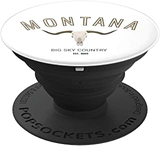 Montana Longhorn Skull - Big Sky Country USA PopSockets Grip and Stand for Phones and Tablets