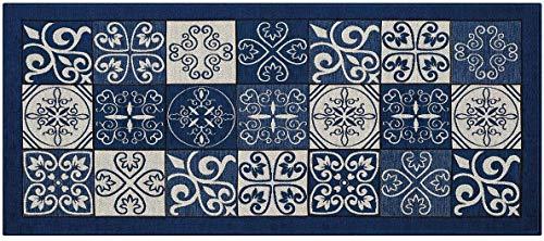 HomeLife Tapis de cuisine anti-taches et antidérapant, moderne avec motif faïence, lavable, tapis de couloir coloré, fabriqué en Italie 58X140 bleu