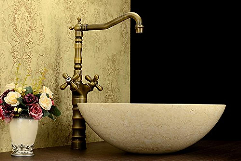 LHbox Bad Armatur in Bad für Waschbecken Waschtisch Wasserhahn Waschtischarmatur Europische Alle Kupfer Antik Waschbecken Rotation Waschbecken Wasserhahn, C