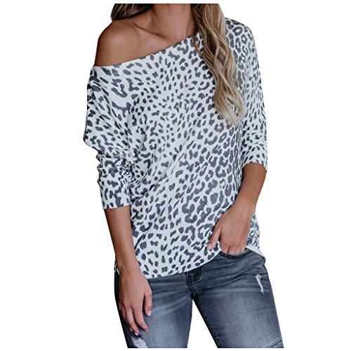 Xniral Damen Bluse Mode Tie-dye/Leopard/Einfarbig Langarm U-Boot-Ausschnitt Basic Oberteil Lose Sweatshirts Beiläufig Mode Streetwear(Schwarz,S)