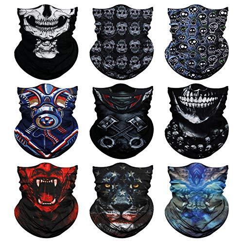 Venswell Neck Gaiter Mask for Men Women, Seamless Bandana Rave Face Cover Mask, Magic Face Scarf, Balaclava,Headband, Head Wrap-Motorcycle Cycling Festival Outdoors (B-Animal+Skull)