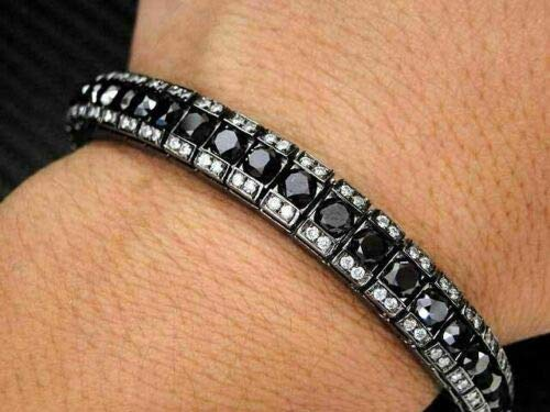 18 Ct Round Cut Diamond Black&White Men's Tennis Bracelet 14K Black Gold Finish