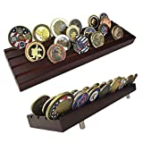 Indeep 4 Rows Military Challenge Coins Holder Coin Display Stand Rack Solid Wood