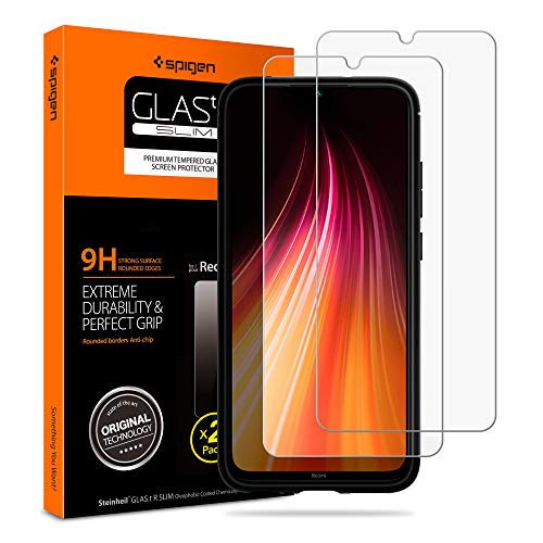 Spigen, 2 Pack, Cristal Templado Xiaomi Redmi Note 8 / Note 7, Dureza 9H, Compatible con Fundas, Respuesta Táctil, Recubrimiento Oleofóbico (AGL00389)