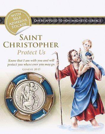 Cross ST Saint Christopher Rosa Azul Coche o imán para Nevera 4cm con Amor ol72132