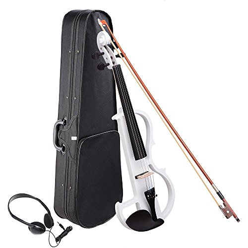 AW 4/4 Electric Violin Full Size Wood Silent Fiddle Musical Instrument Fittings Headphone