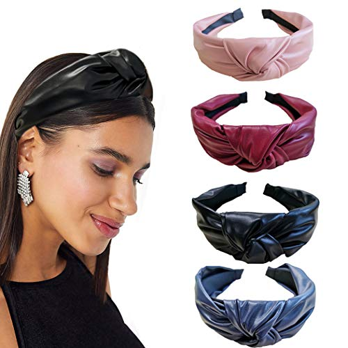 Bohend Fashion Women Knotted Headbands 4Pcs Wide PU Leather Headband Hair Hoop Daily Use Turban Hair Accessories for Women and Girls (A)