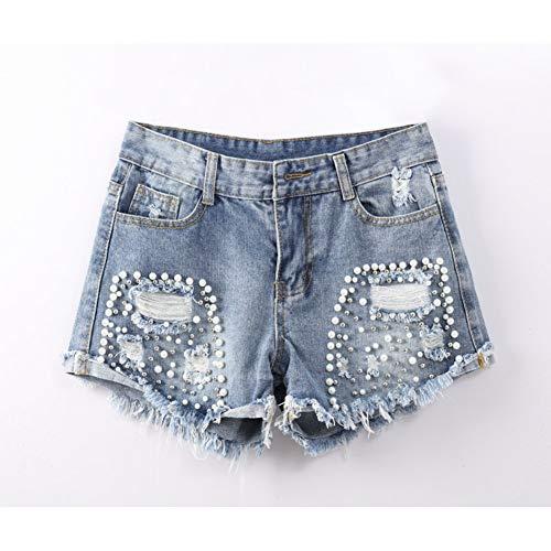 DAIDAICDK Pantalones Cortos Rasgados De Mezclilla para Mujeres Pantalones Vaqueros Delgados Vintage Pantalones Cortos Mujeres Damas Femeninas