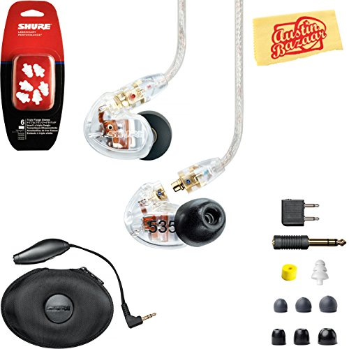 Shure SE535 Sound Isolating Earphones - Clear Bundle with Triple Flange Sleeves, Sleeve Fit Kit, Carrying Case, and Austin Bazaar Polishing Cloth