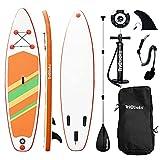 Triclicks Tavola da Paddle Surf Paddle Board (15 cm di Spessore) Pagaia, Pompa, Sacca Trasporto, Kit di Riparazione, Universale SUP all Round | Bottom Pinna| Antiscivolo Deck 10'9' (Style 6)